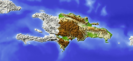 Dominican Republic. Shaded relief map. Surrounding territory greyed out. Colored according to elevation. Includes clip path for the state area. Projection: Mercator Extents: -75.5-671720.7  photo