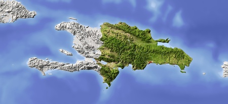 Dominican Republic. Shaded relief map. Surrounding territory greyed out. Colored according to vegetation. Includes clip path for the state area. Projection: Mercator Extents: -75.5-671720.7