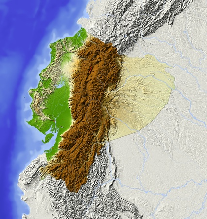 bathymetry: Ecuador. Shaded relief map with major urban areas. Surrounding territory greyed out. Colored according to elevation. Includes clip path for the state area. Projection: Mercator Extents: 1337-38-20 Data source: NASA