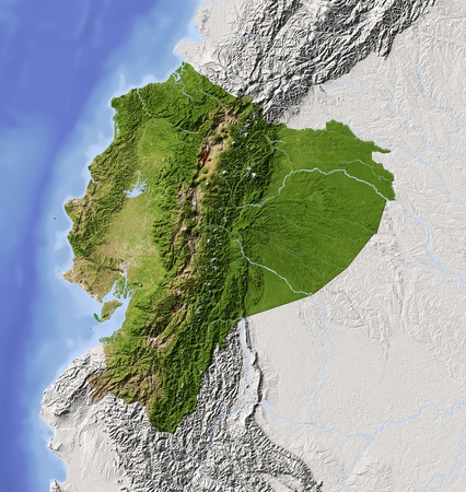 Ecuador. Shaded relief map with major urban areas. Surrounding territory greyed out. Colored according to vegetation. Includes clip path for the state area. Projection: Mercator Extents: 1337-38-20 Data source: NASA Stock Photo