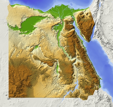 nile: Egypt. Shaded relief map with major urban areas. Surrounding territory greyed out. Colored artificially according to elevation. Includes clip path for the state area. Projection: Standard Mercator Extents: 24.0,37.0, 21.0, 32.0 Data source: NASA  Stock Photo