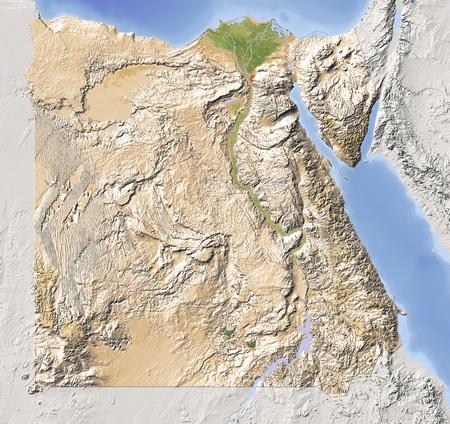 topografia: Egipto. Mapa en relieve sombreado con las principales zonas urbanas. Territorio circundante de color gris. Pintado de acuerdo a la vegetaci�n. Incluye el camino del clip para el �rea de estado. Proyecci�n: Extensi�n est�ndar de Mercator: 24.0,37.0, 21.0, 32.0 Fuente de datos: NASA Foto de archivo