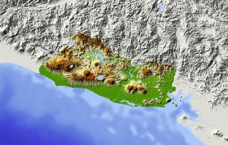 mapa de el salvador: El Salvador. Mapa en relieve sombreado. Territorio circundante de color gris. De color de acuerdo a la elevaci�n. Incluye clip de ruta para el �rea de estado. Proyecci�n: Extensi�n de Mercator: -90.8-86.812.515 Fuente: NASA