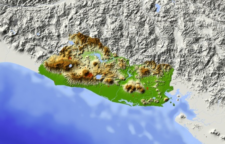el salvador: El Salvador. Shaded relief map. Surrounding territory greyed out. Colored according to elevation. Includes clip path for the state area. Projection: Mercator Extents: -90.8-86.812.515 Data source: NASA Stock Photo