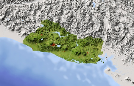 mapa de el salvador: El Salvador. Mapa en relieve sombreado. Territorio circundante de color gris. Pintado de acuerdo a la vegetación. Incluye el camino del clip para el área de estado. Proyección: Extensión de Mercator: -90.8-86.812.515 Fuente de datos: NASA Foto de archivo