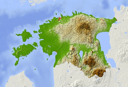 relief maps: Estonia. Shaded relief map with major urban areas. Surrounding territory greyed out. Colored according to elevation. Includes clip path for the state area. Projection: Mercator Extents: 20.5295760 Data source: NASA Stock Photo
