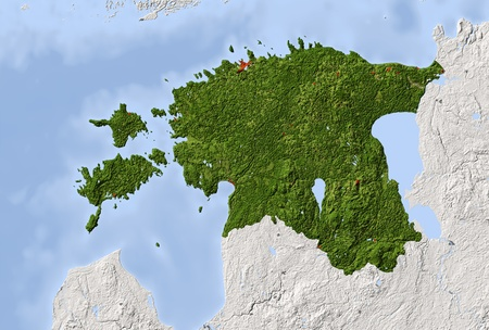 estonia: Estonia. Shaded relief map. Surrounding territory greyed out. Colored according to vegetation. Includes clip path for the state area. Projection: Mercator Extents: 20.5295760