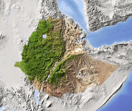 ethiopia: Ethiopia. Shaded relief map. Surrounding territory greyed out. Colored according to vegetation. Includes clip path for the state area. Projection: Mercator Extents: 3149.71.517 Data source: NASA