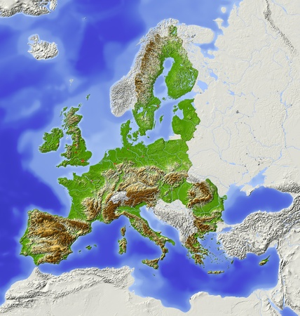 topographic: European Union. Shaded relief map with  major urban areas. Territory outside the euopean union greyed out. Colored according to elevation.  Includes two clip paths for the land area and the area of the european union. Projection Lambert Azimuthal Equal-Ar