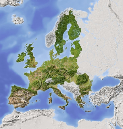 European Union. Shaded relief map with  major urban areas. Territory outside the euopean union greyed out. Colored according to vegetation.  Includes two clip paths for the land area and the area of the european union. Projection Lambert Azimuthal Equal-A