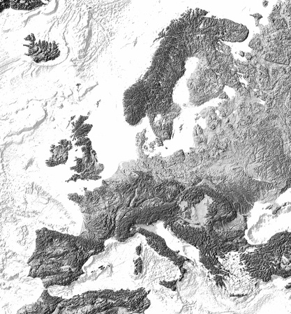 Grey shaded relief map of Europe, with shaded sea floor structures. Projection Lambert Conic Conformal. Data from NASA and US National Geospatial Intelligence Agency.