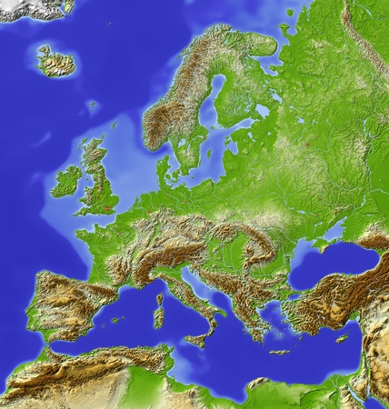 Europe. Shaded relief map with  major urban areas. Colored according to relative height. Projection Lambert Azimuthal Equal-Area (1050) Extents: -10287163 Data source: NASA