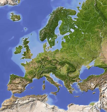 Europa. Schaduwreliëf kaart met de belangrijkste stedelijke gebieden. Gekleurd volgens vegetatie. Projectie Lambert Azimuthal Equal-Area (10/50) Extents: -10 / 28 / / 71 / 63 Bron: NASA