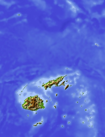 state boundary: Fiji, shaded relief map. Colored according to elevation, with major urban areas. Includes clip path for the state boundary.  Projection: Mercator ; Geographic extents: W: 175.9; E: 182.4; S: -19.8; N: -11.6 Stock Photo