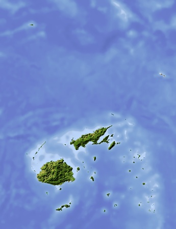 state boundary: Fiji, shaded relief map. Colored according to vegetation, with major urban areas. Includes clip path for the state boundary.  Projection: Mercator ; Geographic extents: W: 175.9; E: 182.4; S: -19.8; N: -11.6
