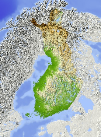 Finland. Shaded relief map. Surrounding territory greyed out. Colored according to terrain height. Includes clip path for the state area. Projection: Mercator Extents: 2.67.850.554.0