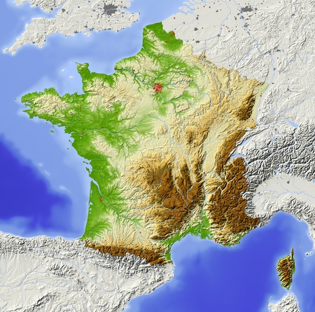 nasa: France. Shaded relief map with major urban areas. Surrounding territory greyed out. Colored according to elevation. Includes clip path for the state area. Projection: Standard Mercator Extents: -5.910.640.551.8 Data source: NASA Stock Photo