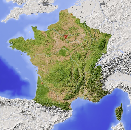 France. Shaded relief map with major urban areas. Surrounding territory greyed out. Colored according to vegetation. Includes clip path for the state area. Projection: Standard Mercator Extents: -5.910.640.551.8 Data source: NASA photo