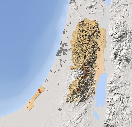 gaza: Gaza Strip and West Bank. Shaded relief map. Surrounding territory greyed out. Colored according to elevation. Includes clip path for the state area. Projection: Mercator Extents: 33.836.03132.8