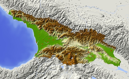 bathymetry: Georgi, caucasian republic. Shaded relief map with major urban areas. Surrounding territory greyed out. Colored according to elevation. Includes clip path for the state area. Projection: Mercator Extents: 39.547.240.544 Data source: NASA Stock Photo