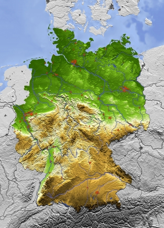 3D Relief Map of Germany, seen from above.  Shows major cities and rivers, surrounding territory greyed out. Artificially colored according to terrain height.