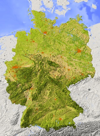 topography: Germany. Shaded relief map. Surrounding territory greyed out. Colored according to elevation and dominant vegetation. Includes clip path for the state area. Stock Photo