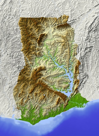 ghana: Ghana. Shaded relief map. Surrounding territory greyed out. Colored according to elevation. Includes clip path for the state area. Projection: Mercator Extents: -41.84.112 Data source: NASA
