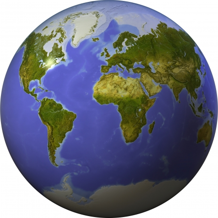 Globe showing the whole world on one side of a sphere. Shaded relief colored according to vegetation.  Isolated on white, with clipping path. Stock Photo - 10816955