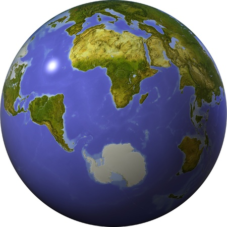 bathymetry: Globe showing the whole world on one side of a sphere. Shaded relief colored according to vegetation.  Isolated on white, with clipping path.