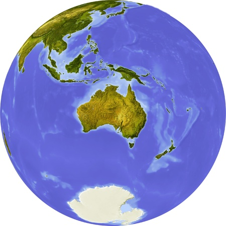 Globe, centered on Australia. Shaded relief colored according to dominant vegetation. Shows polar and pack ice. Isolated on white, with clipping path.