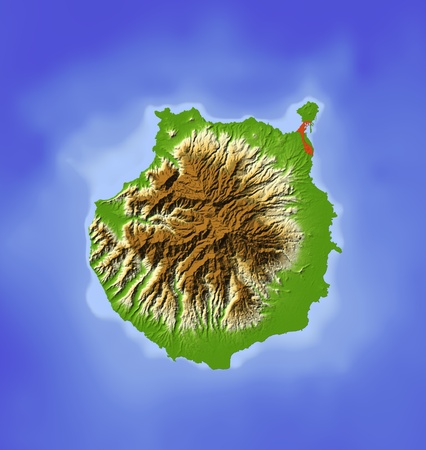 canary island: Gran Canaria. Shaded relief map. Colored according to elevation. Includes clip path for the land area. Projection: Mercator Extents: -16.0-15.227.628.35