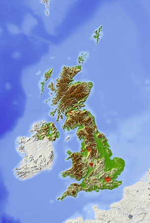 Great Britain. Shaded relief map with major urban areas. Surrounding territory greyed out. Colored according to elevation. Includes clip path for the state area. Projection: Standard Mercator Extents: -124.548.462.2 Data source: NASA Stock fotó