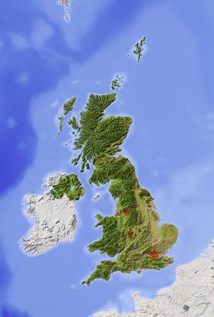 Great Britain. Relief-Karte mit den wichtigsten städtischen Gebieten. Umliegende Gebiet ausgegraut. Farbige nach Vegetation. Mit Clip-Pfad für die Landesfläche. Projektion: Standard Mercator Extents: -12/4.5/48.4/62.2 Quelle der Daten: NASA Standard-Bild