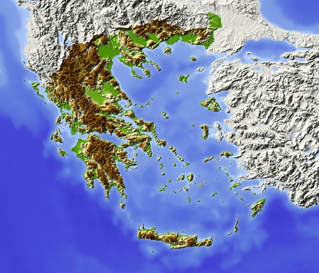 nasa: Greece. Shaded relief map with major urban areas. Surrounding territory greyed out. Colored according to elevation. Includes clip path for the state area. Projection: Stanfard Mercator Extents: 18.530.234.242.1 Data source: NASA