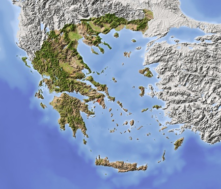 Greece. Shaded relief map with major urban areas. Surrounding territory greyed out. Colored according to vegetation. Includes clip path for the state area. Projection: Stanfard Mercator Extents: 18.530.234.242.1 Data source: NASA
