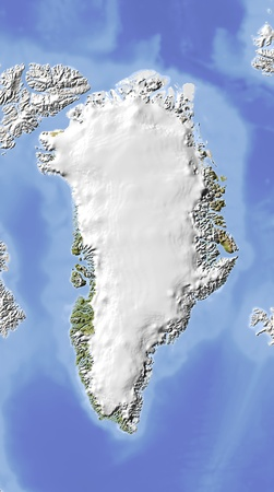 greenland: Greenland, shaded relief map. Colored according to vegetation. Includes clip path for the state boundary.  Projection: Lambert Azimuthal Equal-Area -4575; Geographic extents: W: -59; E: 37; S: 55; N: 80