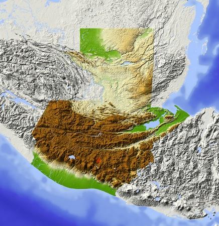Guatemala. Geographische Karte. Umliegende Gebiet ausgegraut. Farbig nach Erhebung. Mit Clip-Pfad für den Staat Bereich. Projektion: Mercator Extents: -93/-87.5/13/18.5 Quelle der Daten: NASA