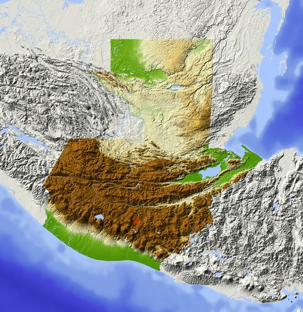 Guatemala. Shaded relief map. Surrounding territory greyed out. Colored according to elevation. Includes clip path for the state area. Projection: Mercator Extents: -93-87.51318.5 Data source: NASA