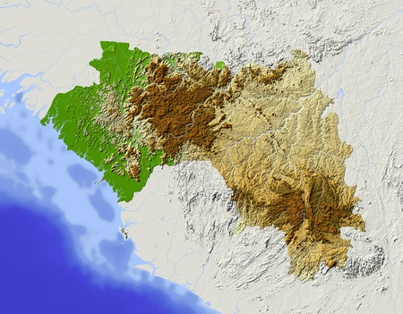 bathymetry: Guinea. Shaded relief map. Surrounding territory greyed out. Colored according to elevation. Includes clip path for the state area. Projection: Mercator Extents: -16-6.86.513.6 Data source: NASA Stock Photo