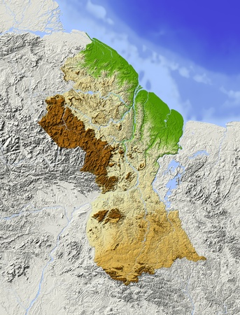 Guyana: Guyana. Shaded relief map. Surrounding territory greyed out. Colored according to elevation. Includes clip path for the state area. Projection: Mercator Extents: -62.5-55.50.39.5 Data source: NASA