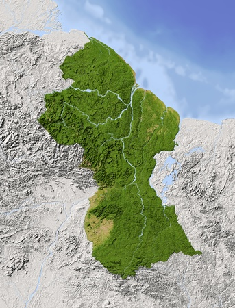 Guyana: Guyana. Shaded relief map. Surrounding territory greyed out. Colored according to vegetation. Includes clip path for the state area. Projection: Mercator Extents: -62.5-55.50.39.5 Data source: NASA Stock Photo