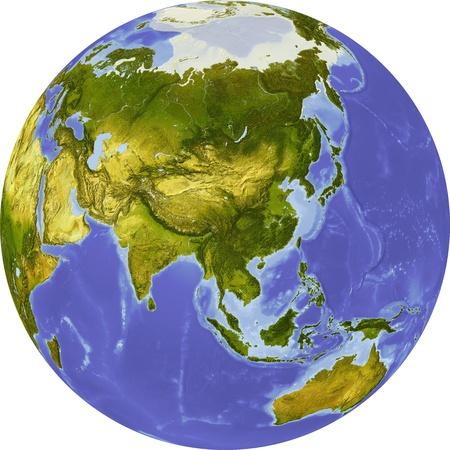 centered: Globe, centered on Asia