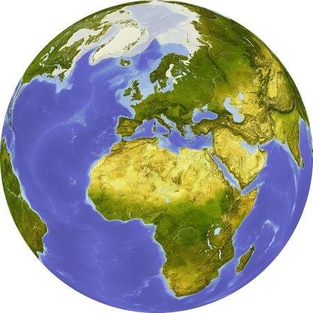centered: Globe, centered on Africa
