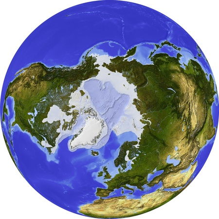 bathymetry: Globe, centered on the North Pole.
