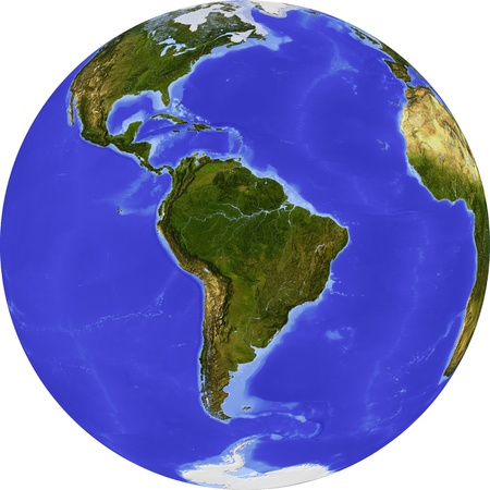 bathymetry: Globe, centered on South America.  Stock Photo