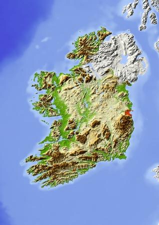 relief maps: Ireland, Republic.  Stock Photo