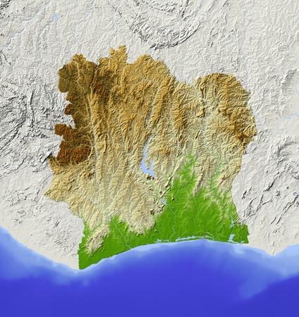 C�te-d'Ivoire (C�te d'Ivoir). Carte en relief ombr�. Territoire environnant gris�. Colori� selon l'altitude. Comprend chemin clip pour la r�gion de l'�tat. Projection: Mercator Extents: -9.8/-1.3/3/12 Source des donn�es: la NASA Banque d'images - 10899087