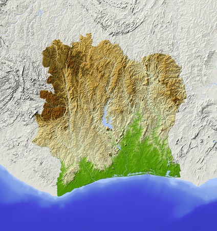 Ivory Coast (Cote dIvoir). Shaded relief map. Surrounding territory greyed out. Colored according to elevation. Includes clip path for the state area. Projection: Mercator Extents: -9.8-1.3312 Data source: NASA photo
