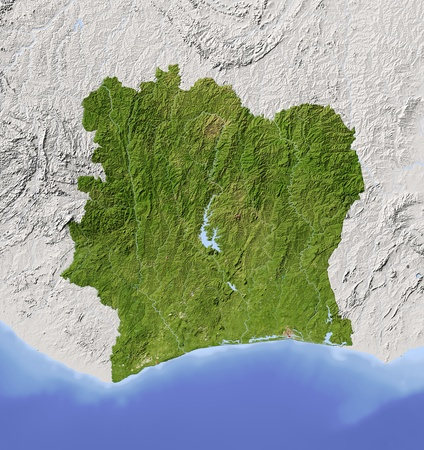 Ivory Coast (Cote d'Ivoir). Shaded relief map. Surrounding territory greyed out. Colored according to vegetation. Includes clip path for the state area.Projection: MercatorExtents: -9.8/-1.3/3/12Data source: NASA