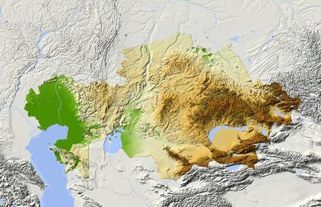 kazakhstan: Kazakhstan, shaded relief map.